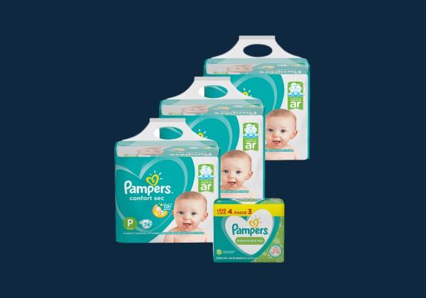 kit Pampers Confort Sec Super + Lenço Umedecido Aloevera com 384 unidades