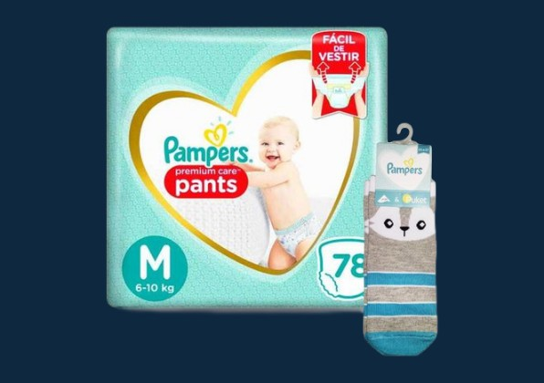 Fralda Pampers Premium Care Pants Top Tamanho M 78 unidades + Brinde Meia Pampers Puket Gato Tamanho 15 a 18