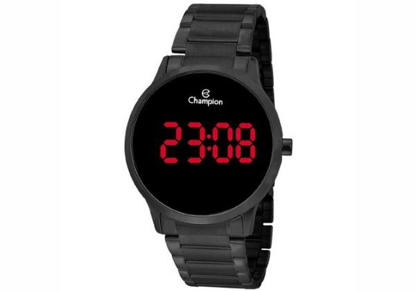 Relógio Champion Preto Digital Led Vermelho Ch40142D