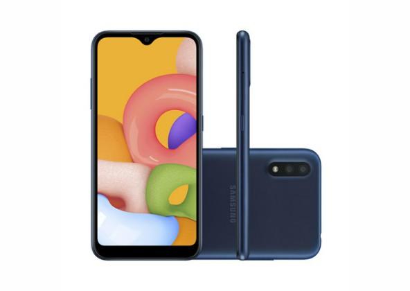 Smartphone Samsung Galaxy A01 32GB Azul 4G Tela 5.7 Pol.