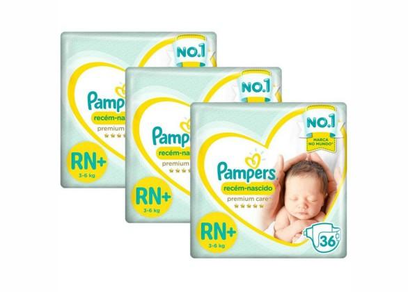 Kit Fralda Pampers Premium Care Recém Nascido Plus
